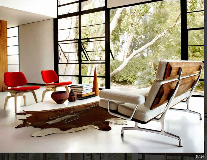 Capture-Eames Sofa 3 seat, Eames Wire Base elliptical Table, Eames Molded Upholstered Chair