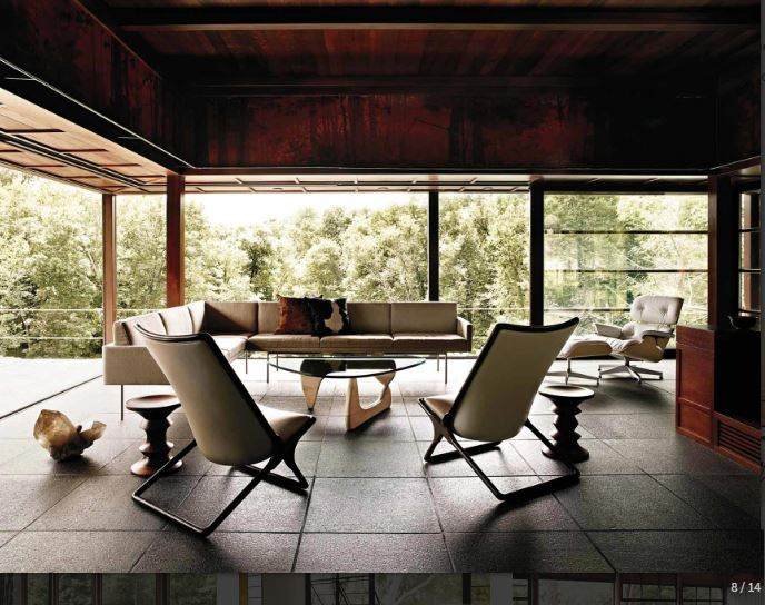 Capture - Scissor Chair, eames Walnut Stool, Noguchi Table